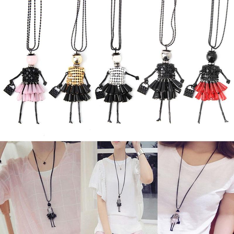 952e6216fdab Moda muñeca colgante de collar suéter cadena larga joyería de la muchacha  de las mujeres