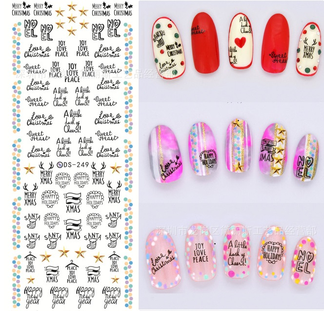 Korean Cute Cartoon Nail Patch Art Stickers Halloween Christmas Nail