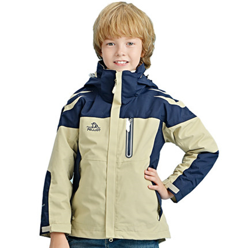 PELLIOT children's children's clothing for boys and girls three in one wind protection and two pieces of jacket jacket laconic and elegant two pieces of leaves design rings for female