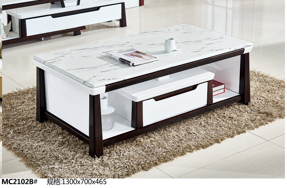 MC2102B Modern living room furniture marble top tea table coffee table with drawer modern tempered glass tea table small room creative tea table in the living room