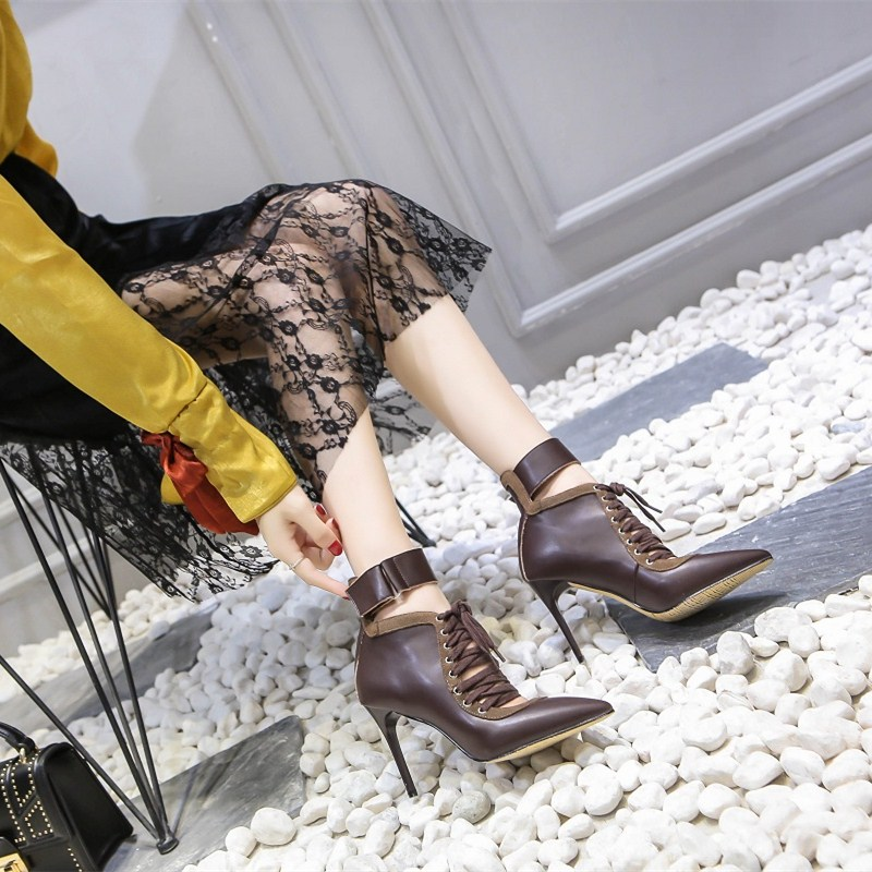 Casidueho Women Ankle Boots High Heels Shoes Woman Sexy Pointed Toe Pumps Lace Up Motorcycle Short Booties Real Leather Boots