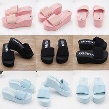 Дешевые простые тапочки Chanclas из эластичной ткани; женские пляжные сланцы на высоком каблуке; летние сандалии на платформе; zapatos mujer; женская обувь