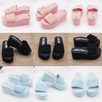 2020 Cheap Simple Chanclas  Elastic Fabric Slippers Women High Heel Beach Flip Flops Summer Platform Sandals Zapatos Mujer Lady