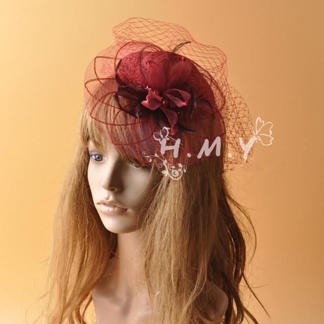Personalizado Handmade Roxo Do Casamento Véu Chapéus Com Penas e Flor Decoração Do Partido boêmio Chapéus rosto véus de Noiva Pequeno