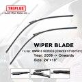 "Wiper Blade for BMW 3 SERIES E90 E91 F30 F31 (2009-Onwards) 1set 24""+18"",Flat Aero Beam Windscreen Wiper Frameless Soft Blades"