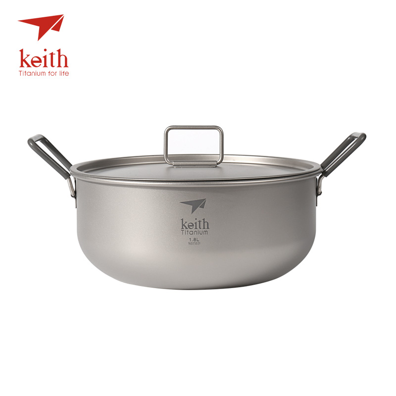 Keith 1.8L Camping Titanium Pot With Titanium Folding Handles Non-stick Cooking Pot Outdoor Cookware Tableware Cutlery Ti6015