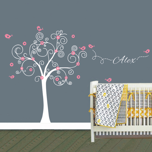 Huge Tree Wall Stickers Custom Name Nursery Art Decals Vinyl Wall - Custom vinyl wall decals flowers