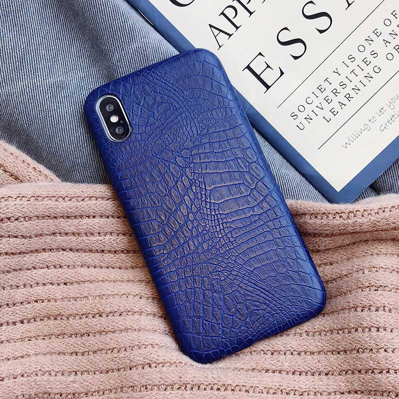 Boucho для iphone Xs MAX XR X XS чехол s крокодиловая текстура чехол для телефона для iphone 11 Pro max 7 8 6 6S Plus Роскошный чехол из искусственной кожи - Цвет: crocodile Blue
