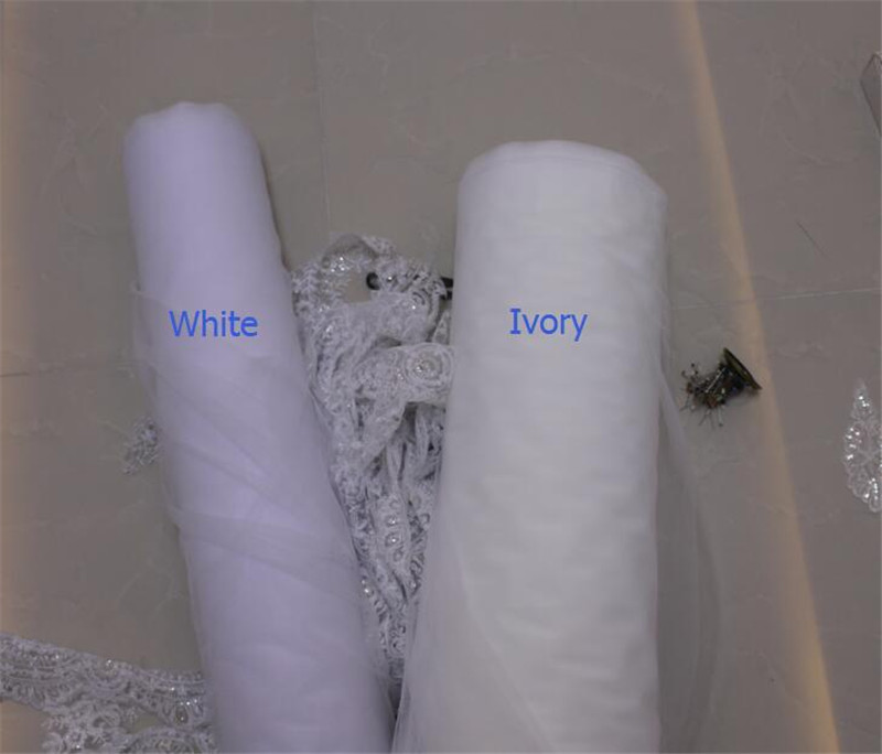 white/ivory one Layers 3.5M Luxury Length Applique Lace Soft Tulle wedding veil bridal veils with comb Wedding Accessories