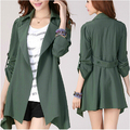 2014 Autumn outerwear & coat women medium-long sashes trench coat slim women casual cardigans  trench coat for women