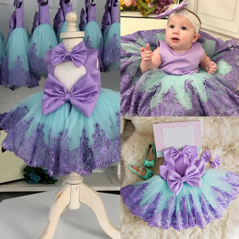 Dress Ball-Gown Flower Birthday-Party Floral Girls Toddler Baby Purple Princess Lace
