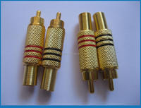 10 Pcs RCA Male Plug Gold Plated With Spring Red Amp Black