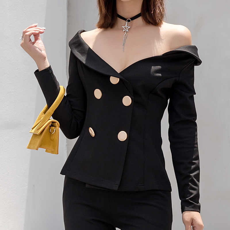 7c5239a3424a Autumn New Womens Tops And Blouses Blazers Off Shoulder Giant Waist  Irregular Collar Double Breasted Suit