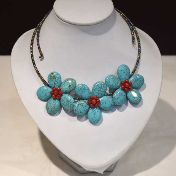 Coral Blue Beads Flower Czech Seed Beaded Choker Necklace For Women
