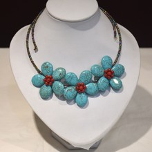 Coral Blue Beads Flower Czech Seed Beaded Choker Necklace For Women(China)