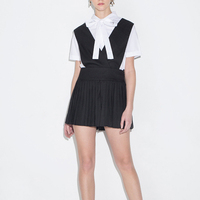 New Preppy Style 2016 Summer High Waist Black Suspender Skirt Mini Pleated Skirts