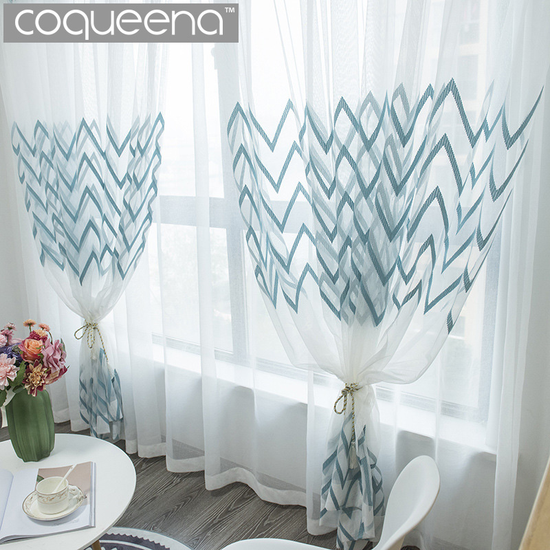 Wavy Strip Embroidered White Sheer Curtains For Living Room Bedroom Kitchen Window Sheer Voile Tulle Curtain Scandinavian Style