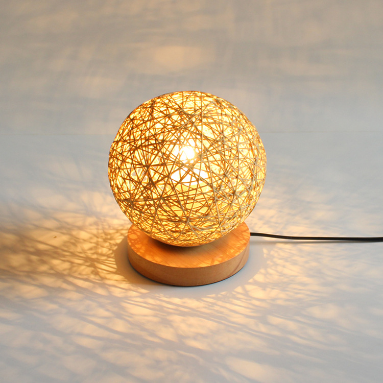 solid wood hemp ball led desk lamp E27 Base Handmade Glass Lampsahde Bedroom Bedside Vintage Table Lamp Light Fixtures