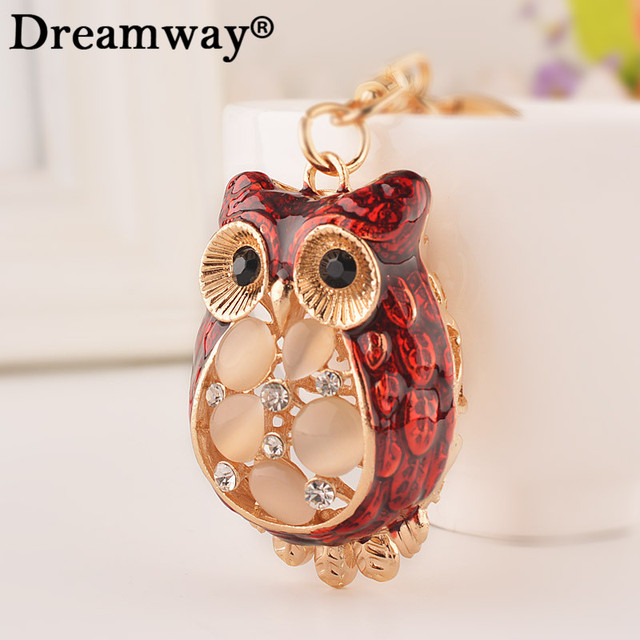 luxury keychains opal owl key chain for girls key rings womens animal keychains  for keys lady bags car key pendants chains 5863ec1f40
