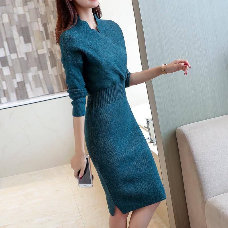 Autumn Winter Women Slim V-neck Knitted Sweater Dress Female Bodycon Tricot Pullovers Dress Knitwear Elegant Vestidos K250
