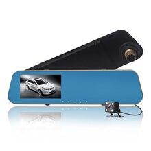 лучшая цена 4.3 Inches Dual Lens Mirror Car DVR HD 1080P Vehicle Driving Video Recorder Dash Cam Portable Car Camera Night Vision