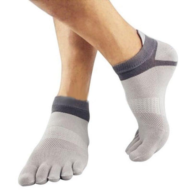 Men's Breathable Cotton Toe Socks Pure Sports Comfortable 5 Finger Toe Sock 38-43