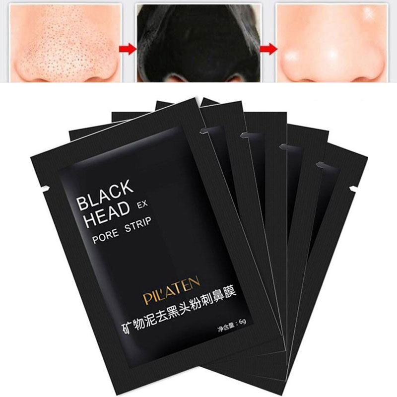 5 Pcs Lot Pilaten Facial Mask Face Care Nose Facial Blackhead Remover Mask Minerals Pore Cleanser