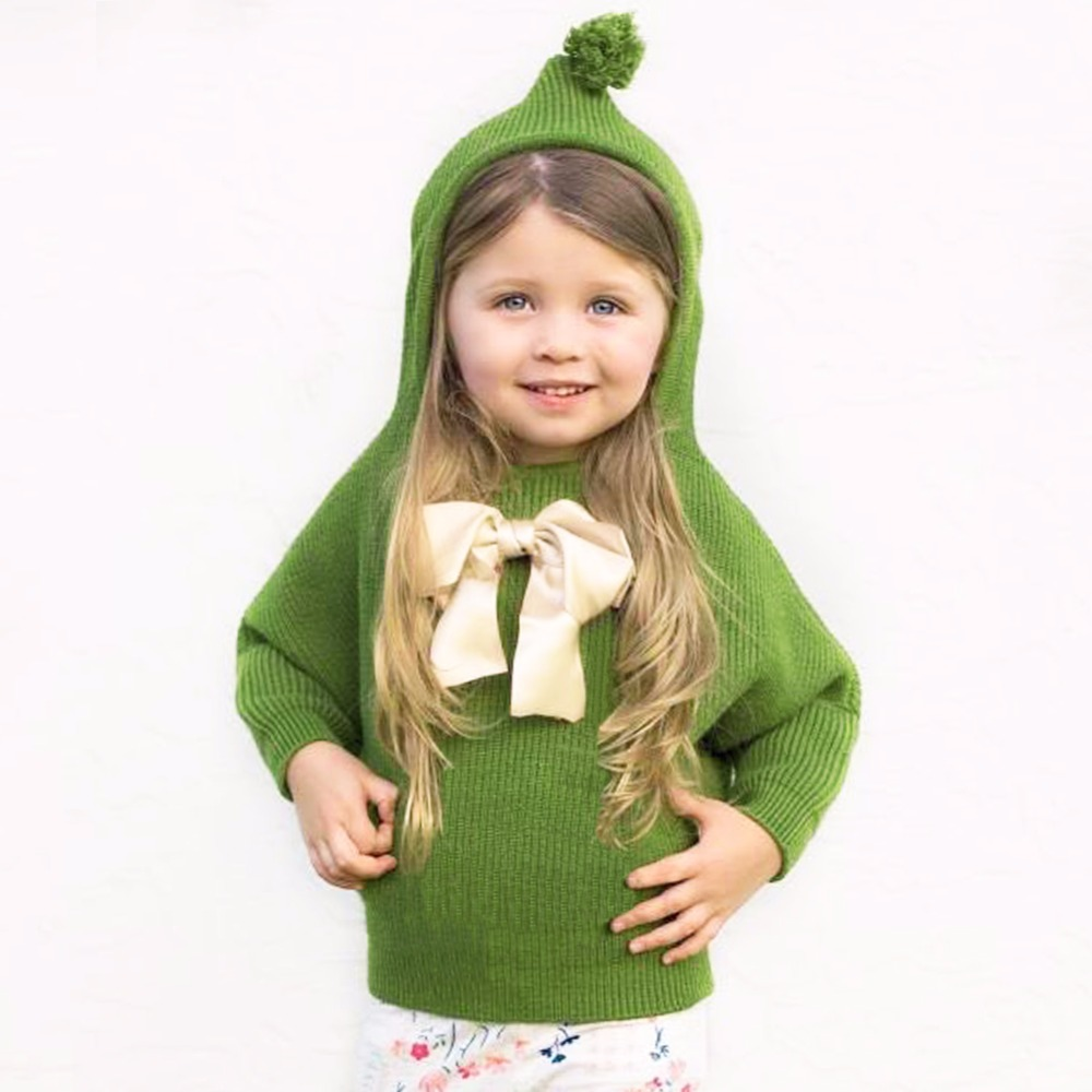 Baby Girl Sweater Green Hooded Long Sleeve Newborn Knitted Jumpers Pullovers Autumn Outerwear Toddler Infant Girls Sweaters Tops