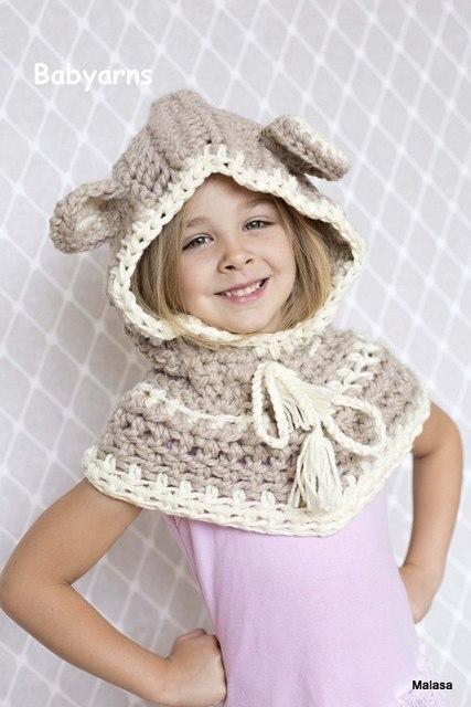 45989cb52 Gorro de oso tejido a Crochet con capucha capa bufanda Animal bebé sombrero  moda niños Unisex