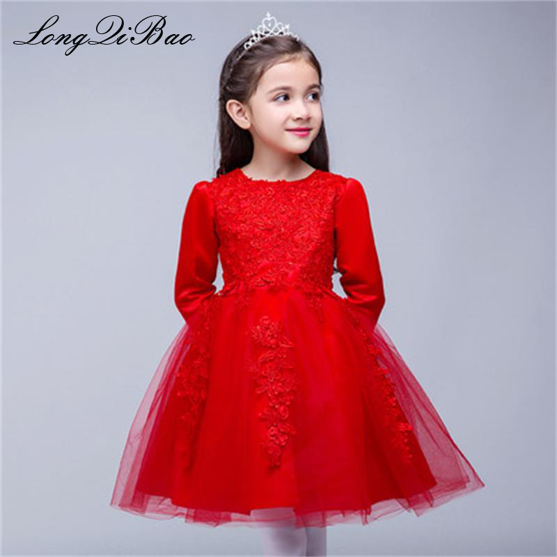 Baby girl red autumn and winter dress long sleeve flower girl wedding birthday dress girl dance piano costume tutu baby girl red children s dress princess dress long sleeve birthday flower girl dress girl piano host costume long winter