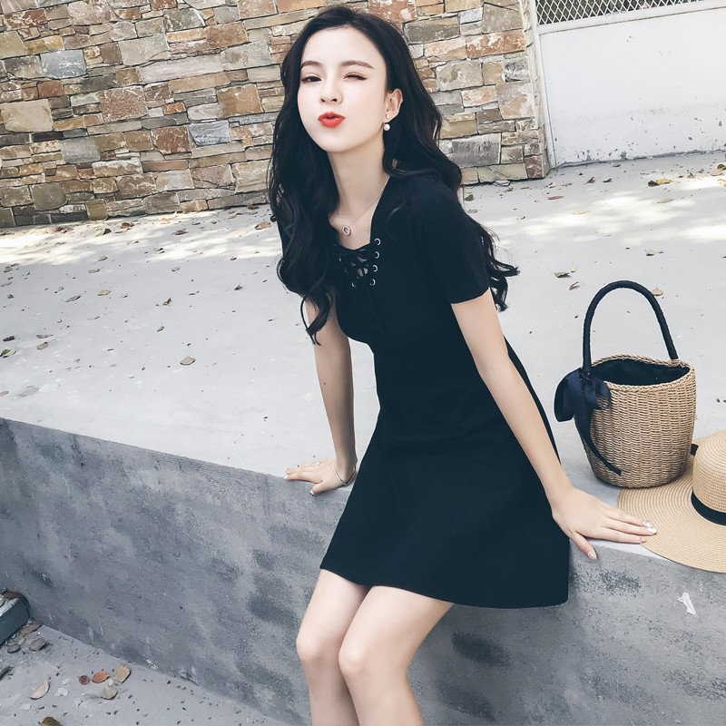 Video video black V neck 2018 New Fashion Summer Women Dress Sexy Sleeveless Dress Female Casual Party Dresses
