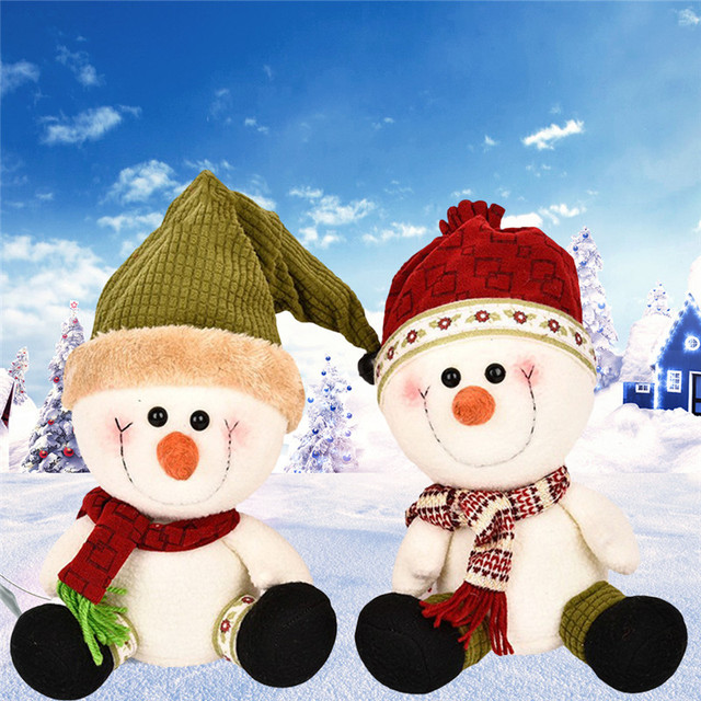 cute christmas plush doll christmas couples snowman dolls for gift decorations polar fleece fabric material handmade