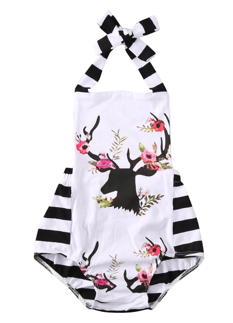 Newborn Baby Girl Clothes Xmas Reindeer   Romper   Striped Bandage Sleeveless Backless Playsuit Jumpsuit Outfit