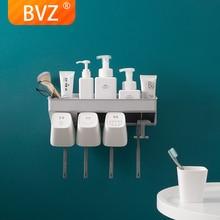 цена на BVZ  Toothbrush Holder Inverted Cup Wall Mount Bathroom Shelf Cleanser Storage Rack Bathroom Accessories Set