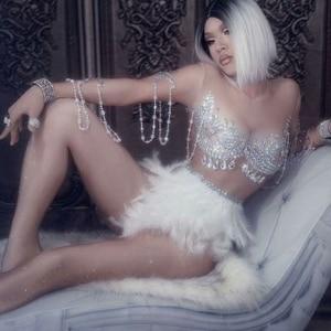 Image 1 - Köpüklü kristaller tulum gece kulübü parti elbise kadınlar seksi ten rengi Bodysuit beyaz tüy taklidi elbise dans kostüm