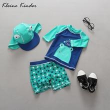 Детский купальный костюм с защитой от ультрафиолета и длинными рукавами; купальный костюм из двух предметов с принтом милой лягушки+ шапочка; купальный костюм для мальчиков; детская одежда для бассейна