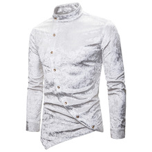 2019 new personality casual diagonal button diamond velvet irregular multi-color Henry collar high quality long-sleeved shirt