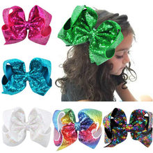 24Colors 8 inch Big Rainbow Large Hair Bow Sequins Ribbon Hairgrips With Alligator Clips Headwear Bowknot Girls Hair Accessories(China)