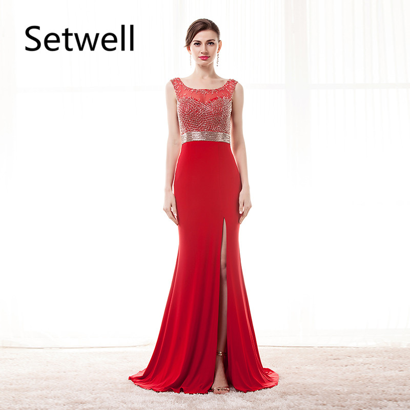 Setwell Long Red   Evening     Dresses   Illusion Beading Neckline Backless   Evening   Gowns Sexy Side Split Mermaid Prom   Dress
