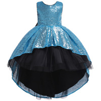 High Low Prom Glitter Junior Kids Sequins Tulle Black Dress for Children 5 To 14 Years Birthday Party Dresses Girls Evening