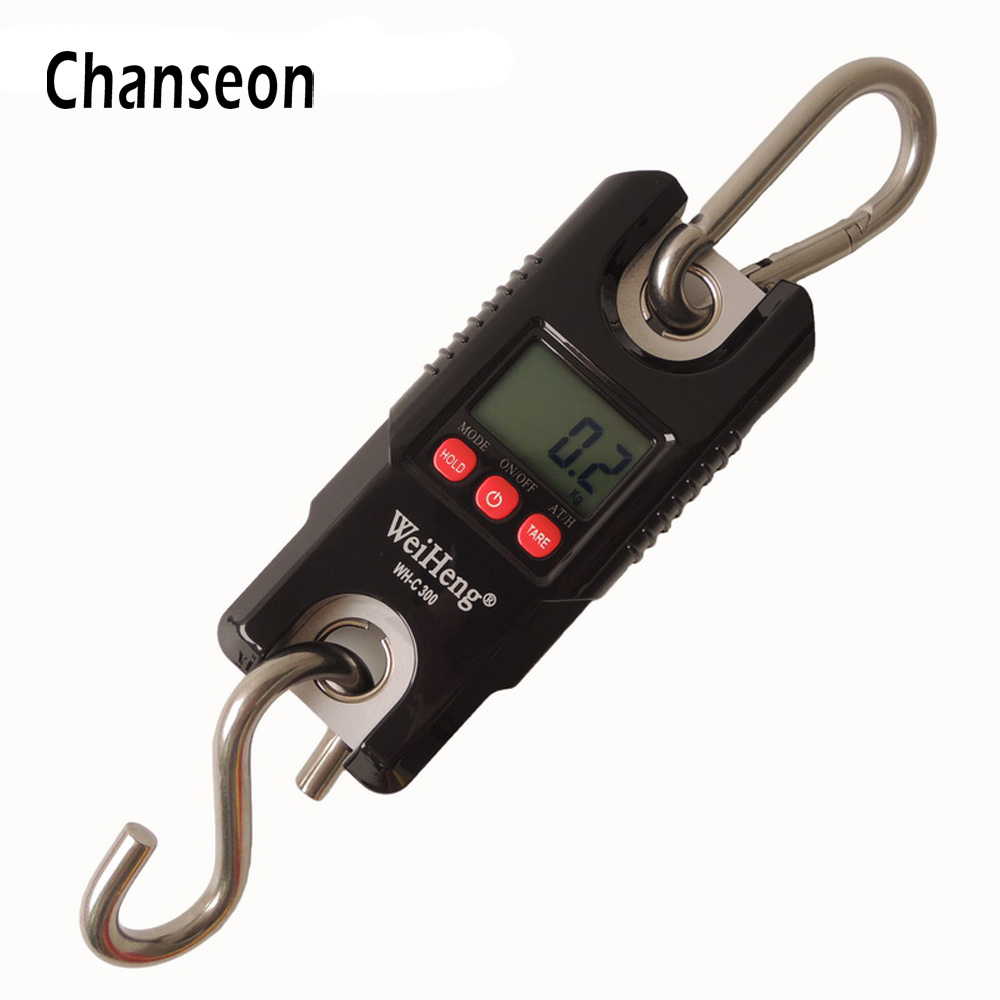 Chanseon Multi-purpose 300kg/661lb x 0.1kg  Mini LCD Digital Crane Electronic Scale Durable Stainless Steel Hook Hanging Scale 5400 lb 2500kg 8 200mm long wide crane bags lifting carrying hook