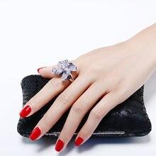Женское кольцо с кристаллом ААА большие роскошные белые украшения