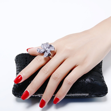 Unique windmill design ring with AAA cubic Zirconia crystal large luxury white jewelry women party big rings fym unique cubic zirconia big white crystal necklace