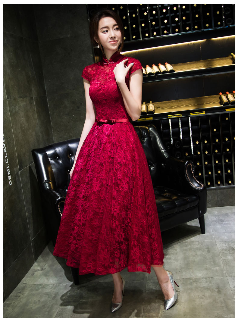 Dress up chinese - 2016 New Chinese Element Intellectual Slim Sweet Princess Dress Lace Long Section Of High Grade