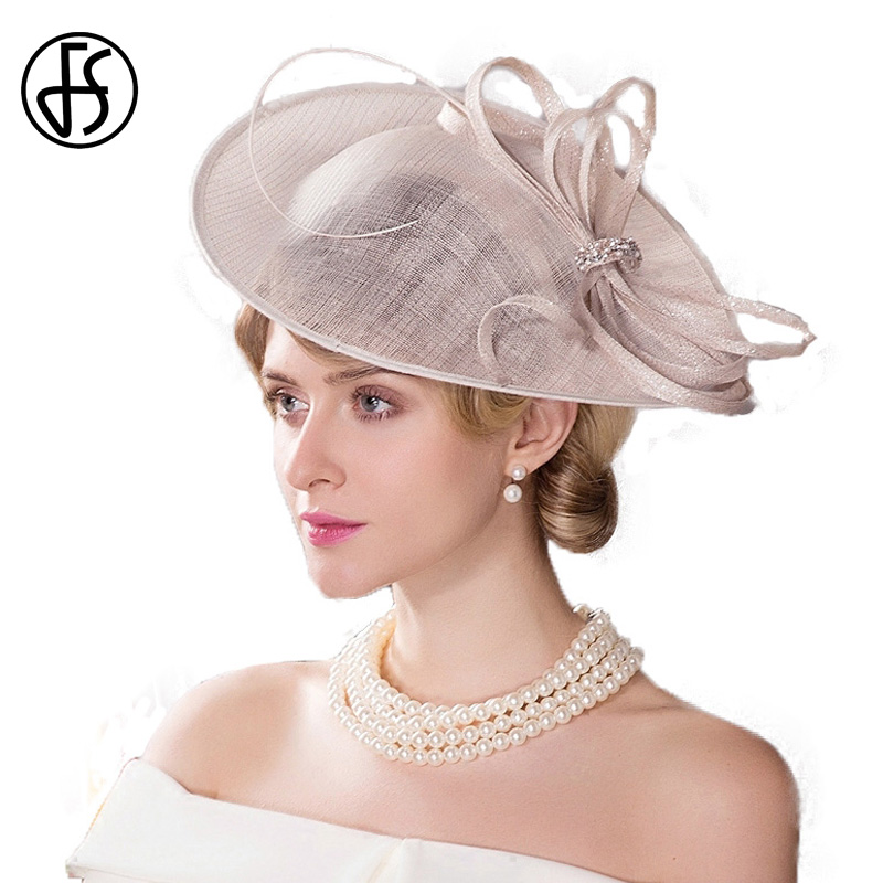 3d82ce9a4ec US $59.99 |FS Fascinators Women Beige Sinamay Hat For Wedding Kentucky  Derby Church Hats Pillbox Ladies Derby Cocktail Chapeu Fedoras-in Fedoras  from ...