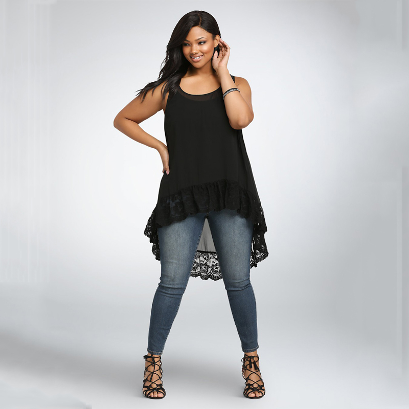 6XL Plus Size Women Clothing Summer Tops For Women Blouses Big Size Sleeveless Black Lace Tank Tops Loose Chiffon Blouse