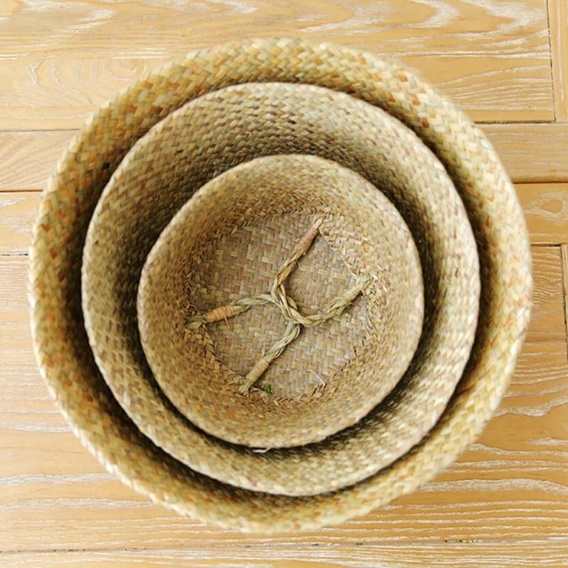 Home Garden Seagrass Wickerwork Basket Rattan Foldable Hengende - Hageforsyninger - Bilde 6