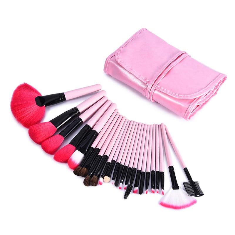 24pcs/set Big Fan Brush with Brush Holder Makeup Bag Foundation Powder Contour Makeup Brushes Set Professional Beauty Tools pastel makeup brush 10pcs with bag