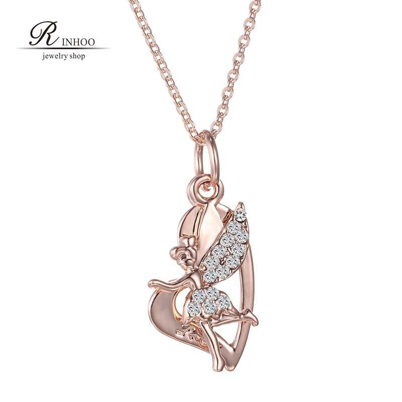 8b9225149b8c Rose nouvelle Fée Collier Pour Les Femmes Bijoux en cristal De Mode Strass  fée Pendentif Collier