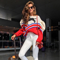 EXCELLENT QUALITY Newest Fashion 2017  Designer Sweater Women's Color Block Colorful Striped Leopard Pullover Sweater